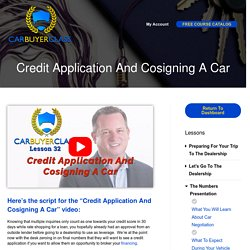 Credit Application And Cosigning A Car