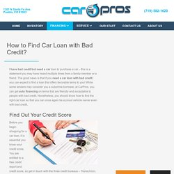 Where can i buy a car with bad credit?