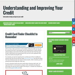 Find best credit card checklist