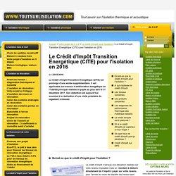 Crédit d'impôt pour l'isolation