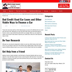 Bad Credit Used Car Loans and Other Viable Ways to Finance a Car