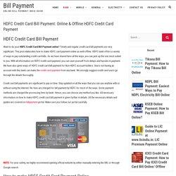 HDFC Credit Card Bill Payment: Online & Offline HDFC Credit Card