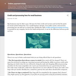 Credit card processing fees for small business