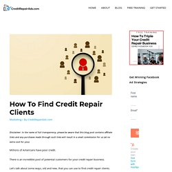 How To Find Credit Repair Clients