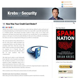 How Was Your Credit Card Stolen?