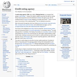 Credit rating agency - wikipedia\