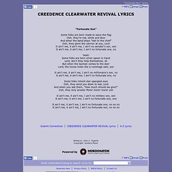 CREEDENCE CLEARWATER REVIVAL LYRICS - Fortunate Son