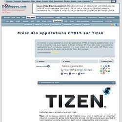 Créer des applications HTML5 sur Tizen