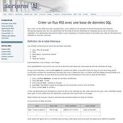 Créer un flux RSS avec une base de données SQL