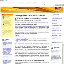 Créer un flux RSS pour un site web qui n'en possède pas