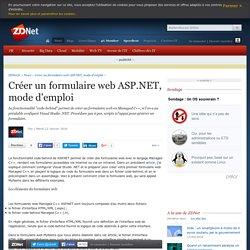 Créer un formulaire web ASP.NET, mode d'emploi