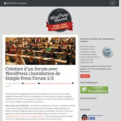 Création d'un forum avec WordPress | Installation de Simple Press Forum 1/2
