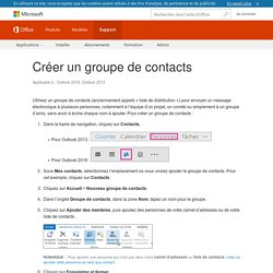 Créer un groupe de contacts - Outlook