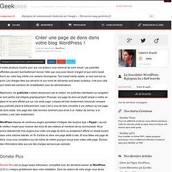 Créer une page de dons dans votre blog WordPress ! sur Geekeries