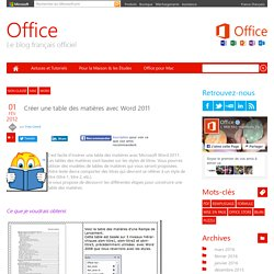 Créer une table des matières avec Word 2011
