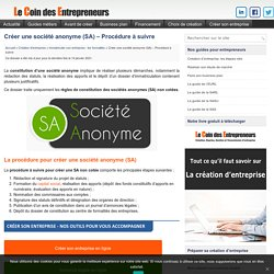 Créer une société anonyme (SA)