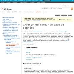Procédure: créer un utilisateur de base de données