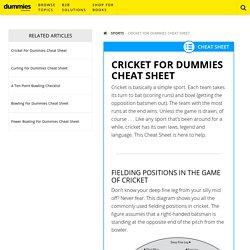 Cricket For Dummies Cheat Sheet