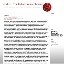 Cricket – The Indian Premier League