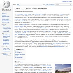 List of ICC Cricket World Cup finals