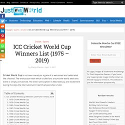 ICC Cricket World Cup Winners List (1975 to 2019)