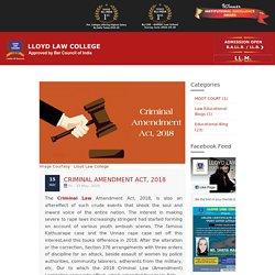 Criminal Amendment Act, 2018