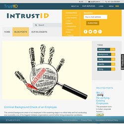 Criminal Background Check of an Employee