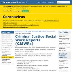 Criminal Justice Social Work Reports (CJSWRs)