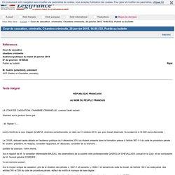 Cour de cassation, criminelle, Chambre criminelle, 20 janvier 2015, 14-80.532, Publié au bulletin
