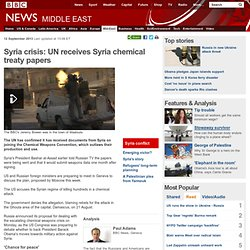 Syria crisis: UN receives Syria chemical treaty papers