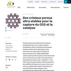 Des cristaux poreux ultra stables pour la capture du CO2 et la catalyse