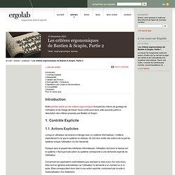 Les critères ergonomiques de Bastien & Scapin, Partie 2