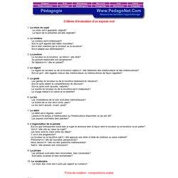 Critères d'évaluation d'un exposé oral