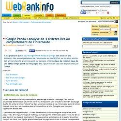 Critères Google Panda : taux de rebond, taux de clic SERP, temps passé …