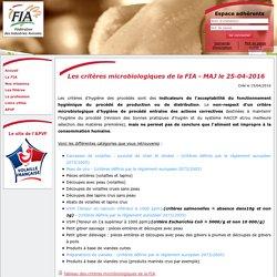 FEDERATION DES INDUSTRIES AVICOLES 25/04/16 Les critères microbiologiques de la FIA