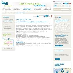 Critères de sélection - Fondation RTE