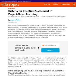 Criteria for Effective Assessment in Project-Based Learning