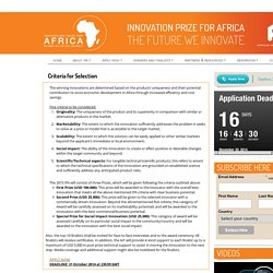 Criteria for Selection : Innovation Prize for Africa