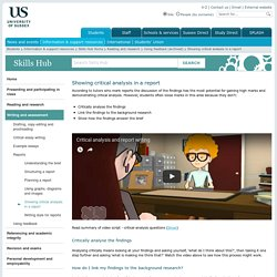 Showing critical analysis in a report : Skills Hub: University of Sussex