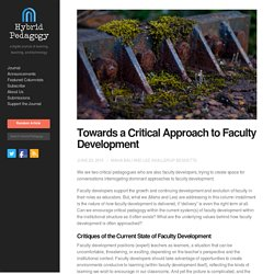 Towards a Critical Approach to Faculty Development