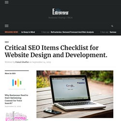 Critical SEO Items Checklist for Website Design and Development.