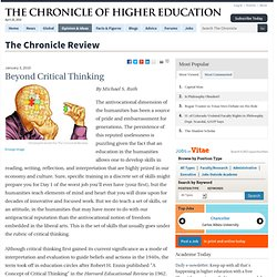 Beyond Critical Thinking - The Chronicle Review