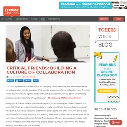 Critical Friends: Building a Culture of Collaboration