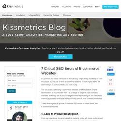7 Critical SEO Errors of E-commerce Websites