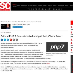 Critical PHP 7 flaws detected and patched, Check Point