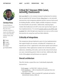 Critical HL7 Usecases With Camel, ActiveMQ, Elasticsearch – Software Blog
