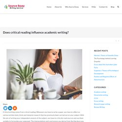 Does critical reading influence academic writing?