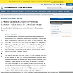 Critical thinking and information fluency: Fake news in the classroom
