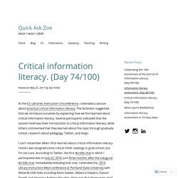 Critical information literacy. (Day 74/100) – Quick Ask Zoe