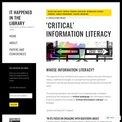 'Critical' Information Literacy